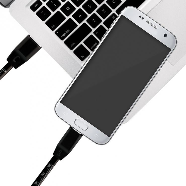 Imagine Cablu micro USB-B la USB 2.0 cu metraj T-T 1m Negru, Logilink CU0158