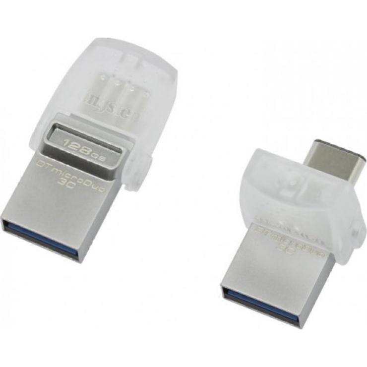 Imagine Stick USB 3.0 128GB DATA TRAVELER microDuo 3C OTG USB-A + USB-C, Kingston DTDUO3C/128GB-1