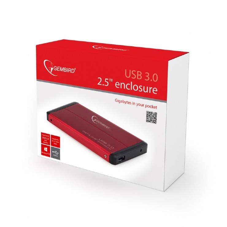 """Imagine Rack extern 2.5"""" pentru HDD SATA cu USB 3.0 Rosu, Gembird-2"""
