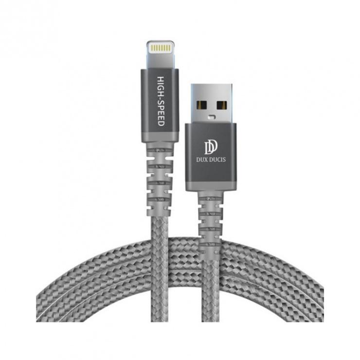 Imagine Cablu de date si incarcare USB 2.0 la iPhone Lightning MFI 1m Argintiu, DUX DUCIS X1