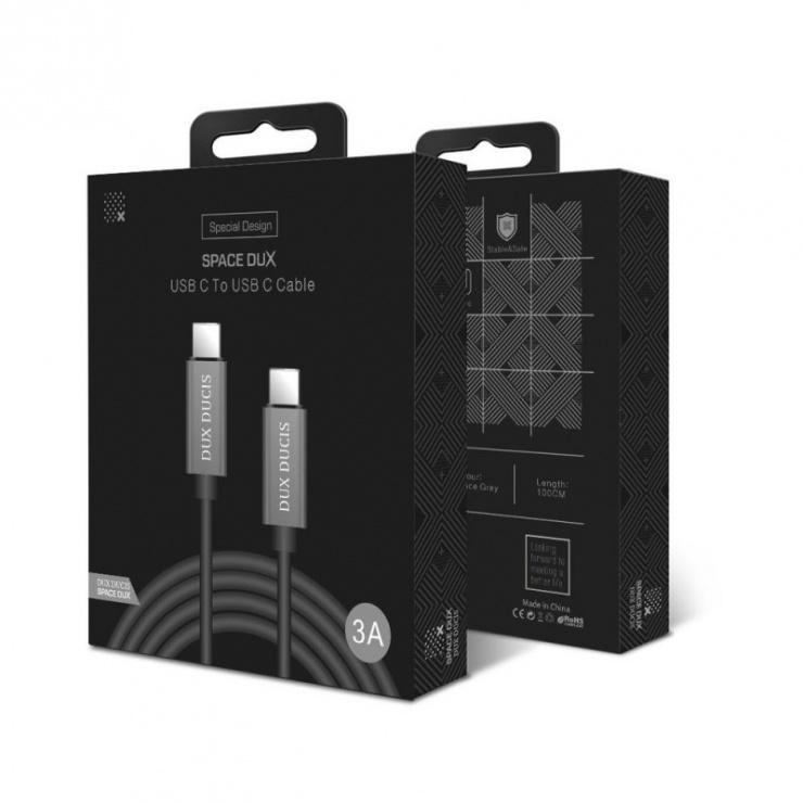 Imagine Cablu de date si incarcare USB-C 3A 1m Argintiu, DUX DUCIS