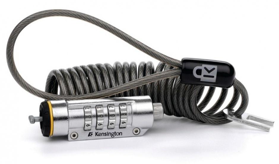 Imagine Cablu antifurt notebook Kesington, cifru cu patru discuri, spiralat, otel K64670EU