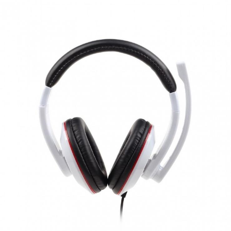 Imagine Casti stereo cu microfon Alb, Gembird MHS-001-GW-1