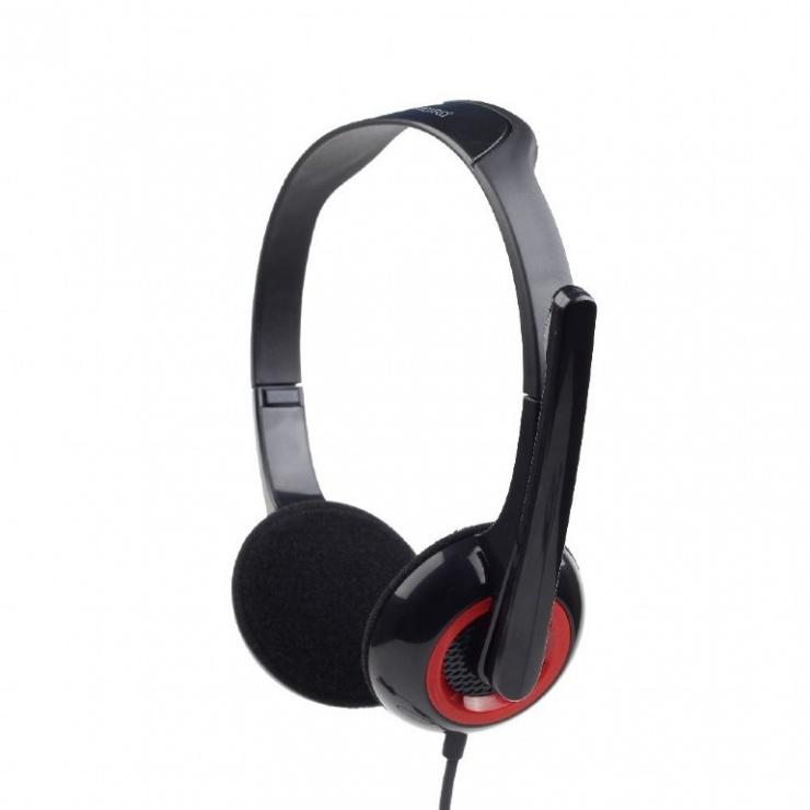 Imagine Casti stereo cu microfon Negru & Rosu, Gembird MHS-002