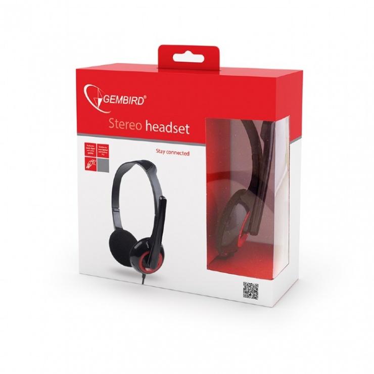 Imagine Casti stereo cu microfon Negru & Rosu, Gembird MHS-002-5