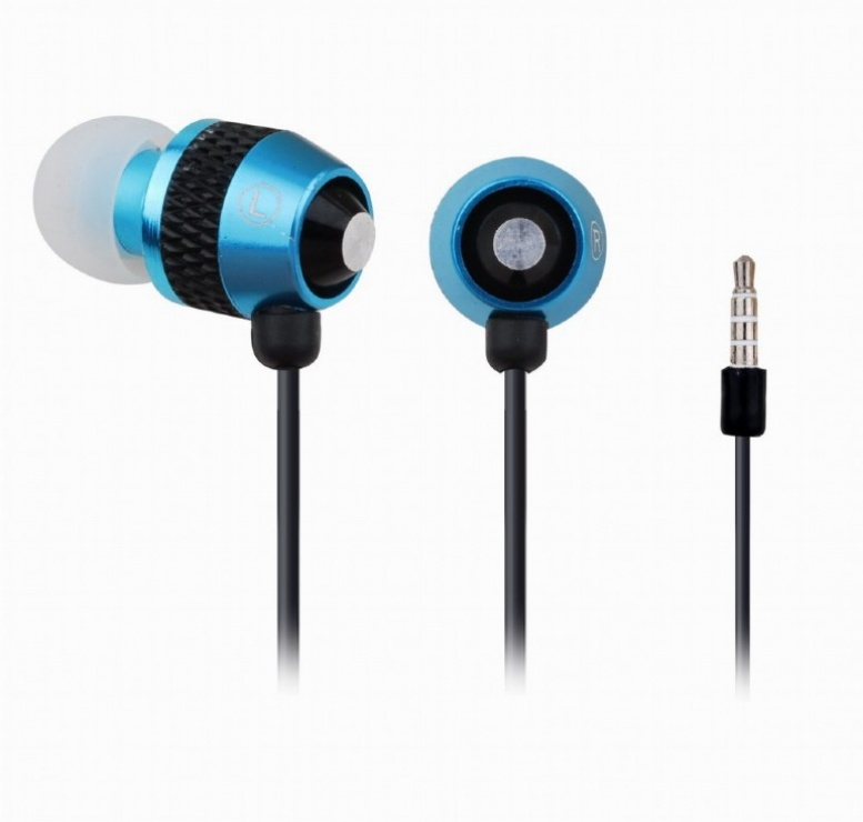 Imagine Casti stereo cu microfon metal Blue, Gembird MHS-EP-002