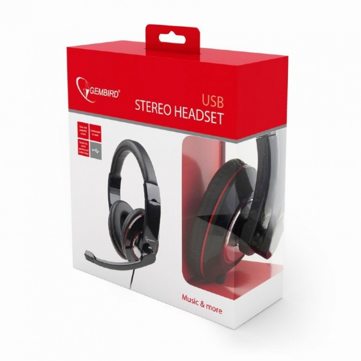 Imagine Casti stereo cu microfon USB Negru, Gembird MHS-U-001-2