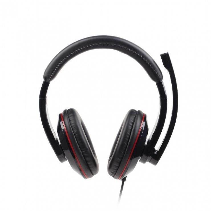Imagine Casti stereo cu microfon USB Negru, Gembird MHS-U-001-1
