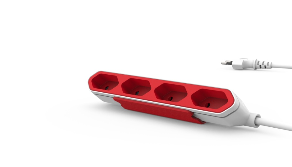 Imagine Prelungitor (PowerBar) Power Cube cu 4 prize euro 1.5m Alb/rosu, ALLOCACOC