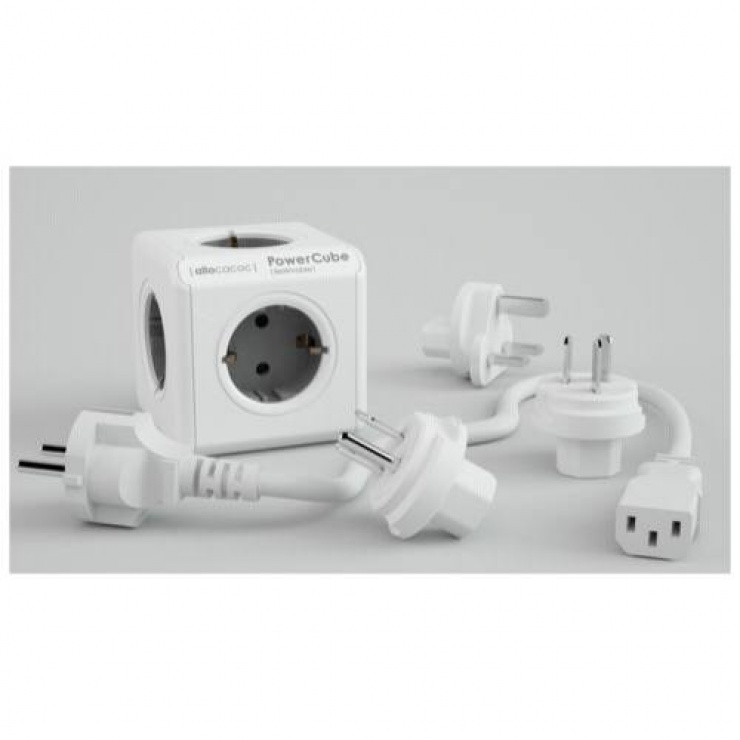 Imagine Prelungitor sub forma de cub PowerCube Rewirable + 4 adaptoare Gri, Allocacoc