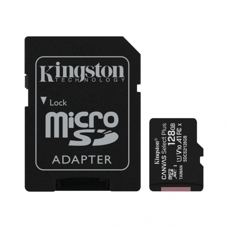 Imagine Card de memorie micro SDXC 128GB clasa 10 Canvas Select Plus, Kingston SDCS2/128GB