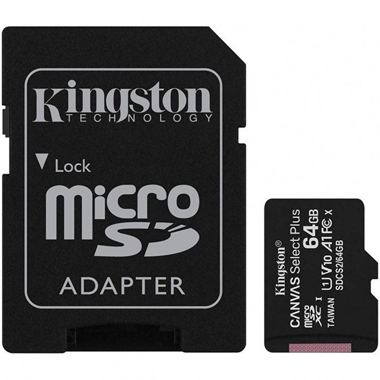 Imagine Card de memorie micro SDXC 64GB clasa 10 Canvas Select Plus, Kingston SDCS2/64GB