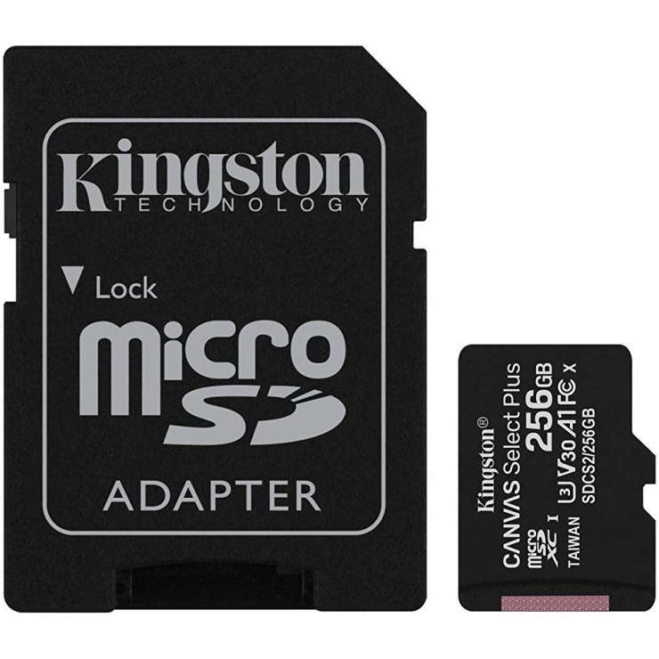Imagine Card de memorie micro SD 256GB clasa 10 Canvas Select Plus, Kingston SDCS2/256GB