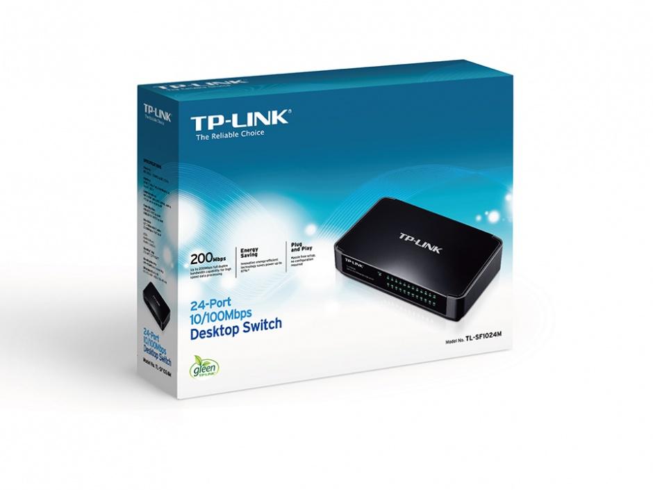Imagine Switch 24 Port-uri 10/100 desktop, carcasa plastic, TP-LINK TL-SF1024M