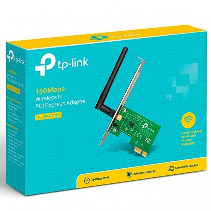 Imagine Placa retea Wireless PCI Express 150Mbps, TP-LINK TL-WN781ND-5