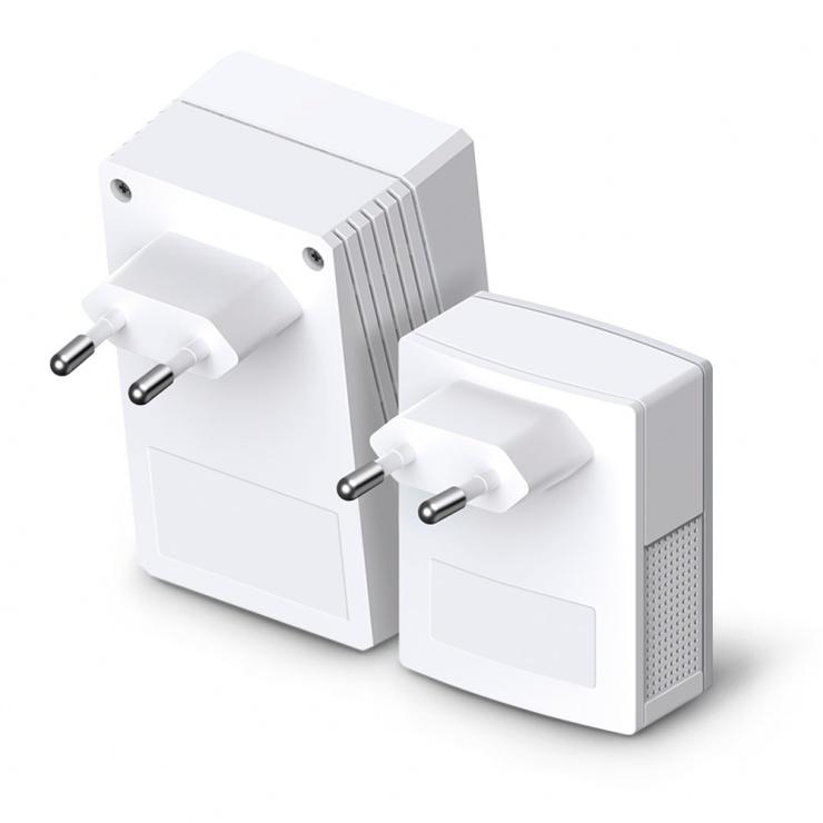 Imagine Kit 2 adaptoare Powerline Extender Wi-Fi AV600 300Mbps, TP-Link TL-WPA4220KIT-2
