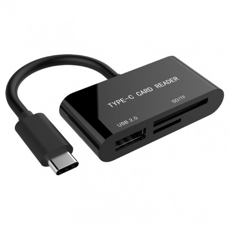 Imagine Cititor de carduri USB-C la USB 2.0-A/ 1 x SD/ 1 x TF, Gembird UHB-CR3-02
