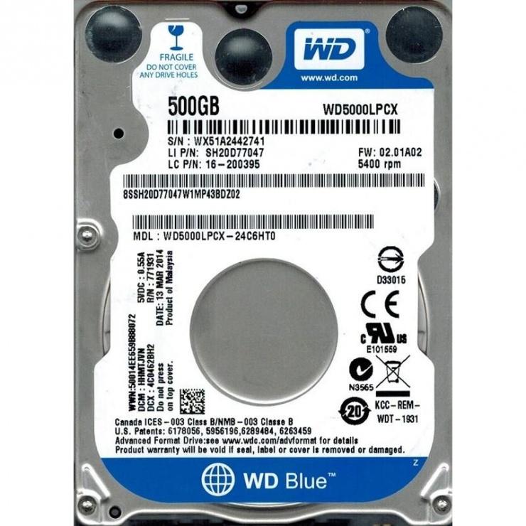 Imagine HDD Notebook WD Blue 500GB 5400rpm 16M SATA3
