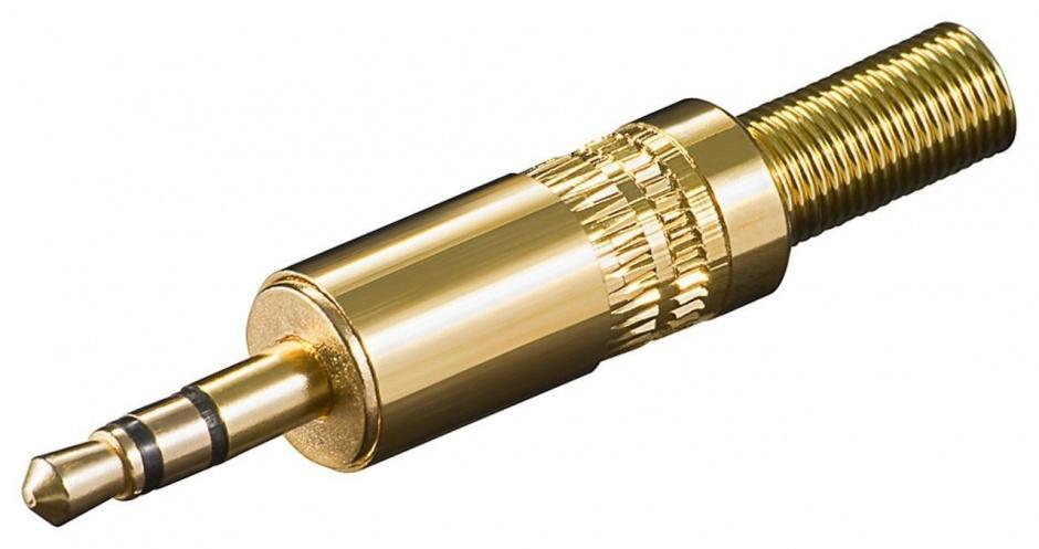 Imagine Conector aurit pentru lipit Stereo jack 3.5 mm 3 pini, cjack3mg