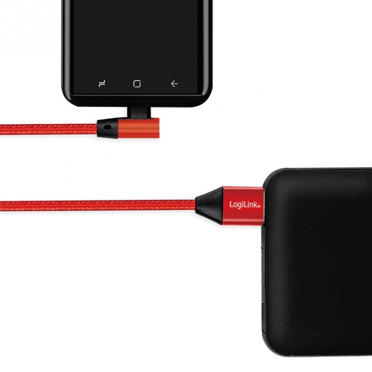 Imagine Cablu USB 2.0 la USB-C unghi 90 grade T-T 1m Rosu, Logilink CU0146