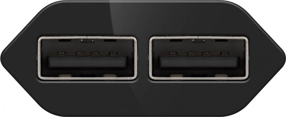 Imagine Incarcator priza 230V la 2 x USB slim/negru 2.1A, Goobay 73274