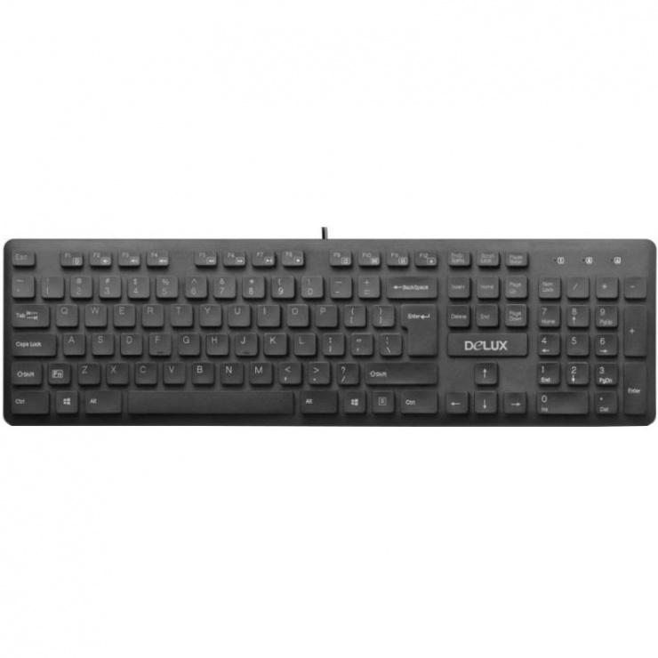 Imagine Tastatura multimedia USB Negru, Delux KA150U