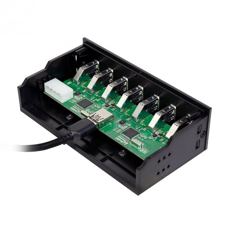 "Imagine Front panel 5.25"" cu 6 x USB 3.0 + 1 x USB Incarcare rapida, Logilink UA0342"