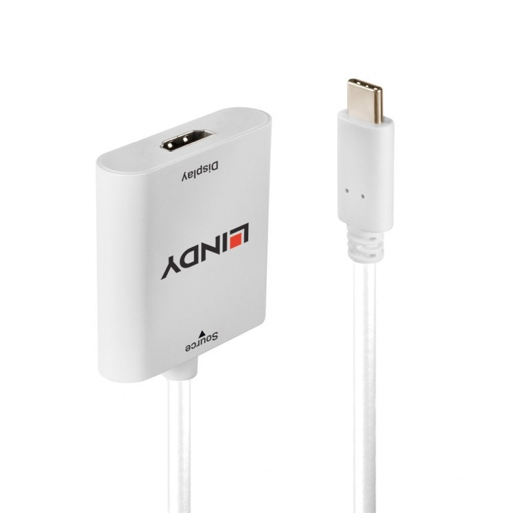 Imagine Adaptor USB-C la HDMI cu HDR 4K@60Hz T-M Alb, Lindy L43276