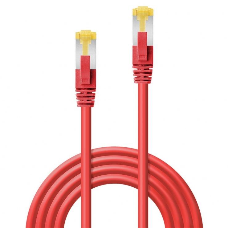 Imagine Cablu de retea S/FTP cat 7 LSOH cu mufe RJ45 Rosu 5m, Lindy L47296