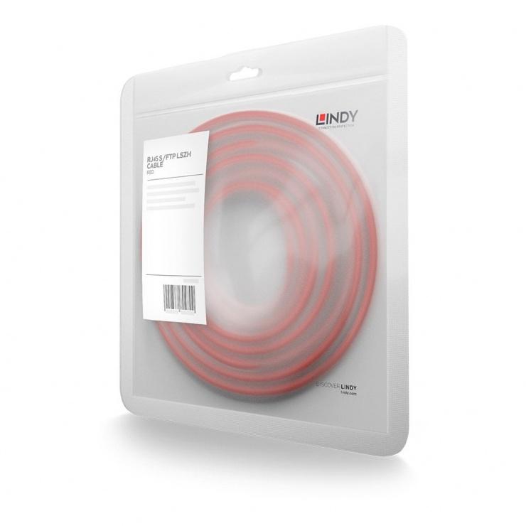 Imagine Cablu de retea S/FTP cat 7 LSOH cu mufe RJ45 Rosu 0.3m, Lindy L47290