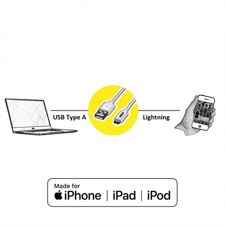 Imagine Cablu de date + incarcare GOLD USB la iPhone Lightning T-T 1m + suport smartphone, Roline 11.02.8923