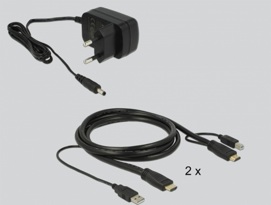 Imagine Switch KVM HDMI 2 porturi cu USB 2.0 si Audio, Delock 11421