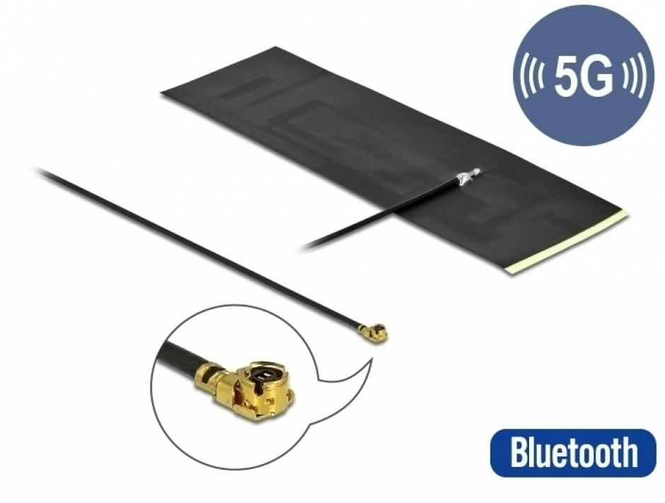 Imagine Antena 5G LTE MHF® I plug -0.42 - 5.00 dBi omnidirectional FPC, Delock 12626