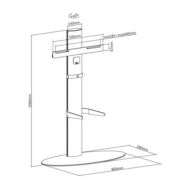 Imagine Stand podea pentru LCD / TV maxim 40kg, Roline 17.03.1262