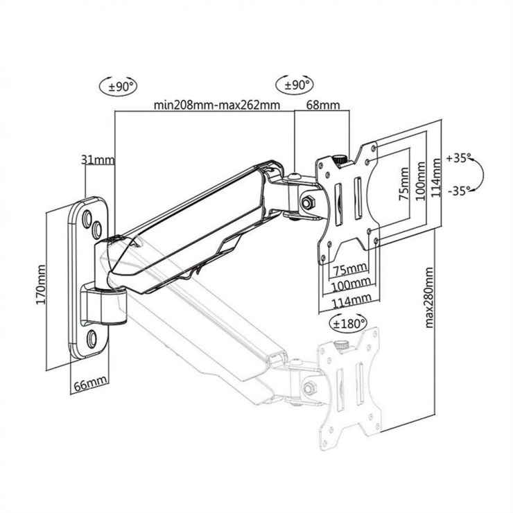 Imagine Suport monitor perete 4 joint Negru, Value 17.99.1190