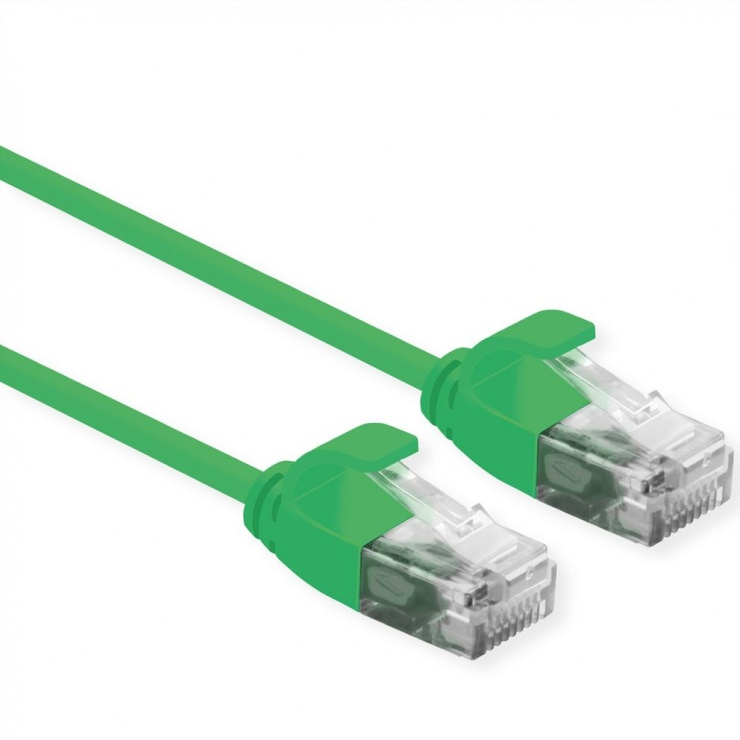 Imagine Cablu de retea Slim cat 6A UTP LSOH 1m Verde, Roline 21.15.3933