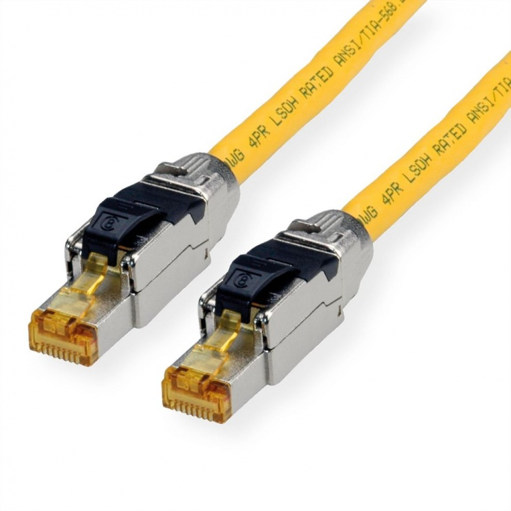 Imagine Cablu de retea RJ45 S / FTP- (PiMF-) Cat.8 LSOH fir solid Galben 2m, Roline 21.15.1852