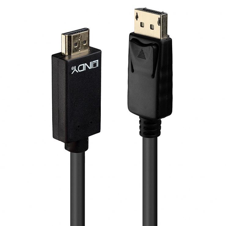 Imagine Cablu Displayport la HDMI 4K 2m T-T Negru, Lindy L36922