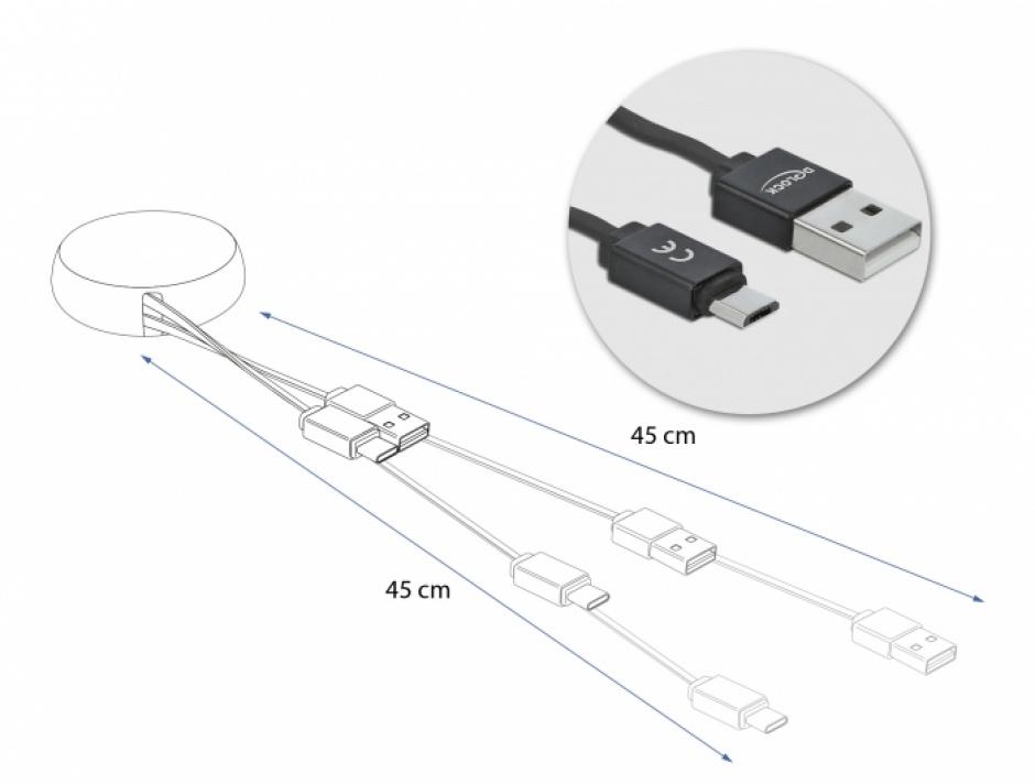Imagine Cablu de date si incarcare USB 2.0 la micro USB-B Negru, Delock 85818