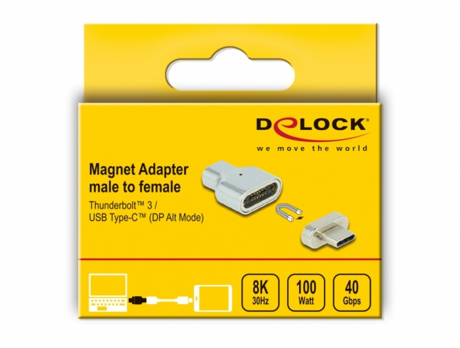 Imagine Adaptor magnetic Thunderbolt 3 / USB-C (DP Alt Mode) 8K@30Hz T-M, Delock 66433