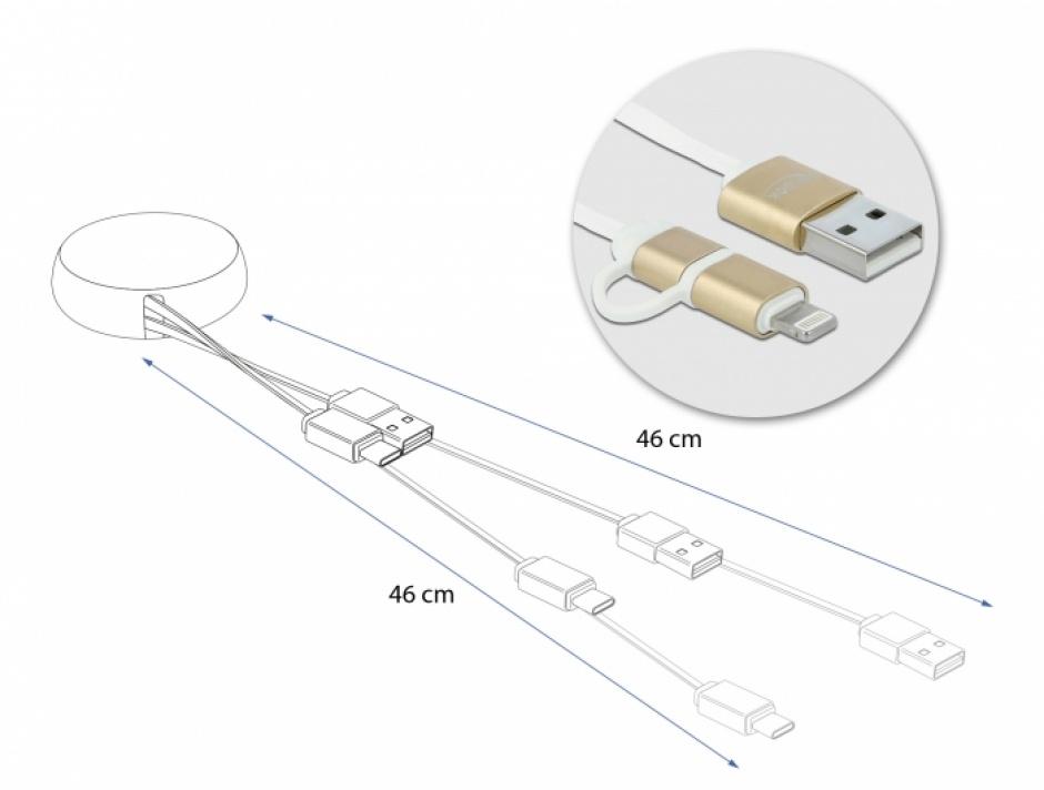 Imagine Cablu de date si incarcare USB 2.0 la micro USB-B + Lightning retractabil Alb/Auriu, Delock 85820