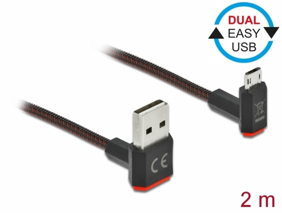 Imagine Cablu EASY-USB 2.0 la micro-B EASY-USB unghi sus/jos 2m textil, Delock 85268
