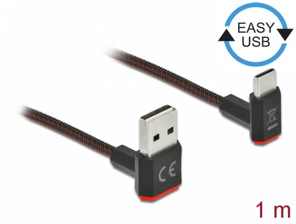 Imagine Cablu EASY-USB 2.0 la USB-C unghi sus/jos 1m textil, Delock 85276