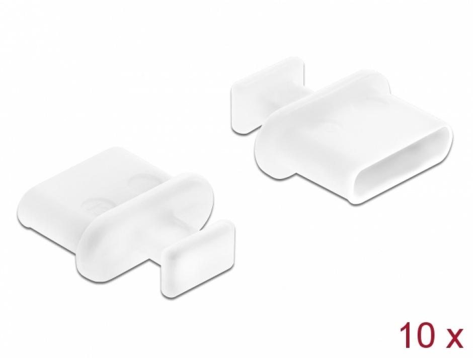 Imagine Protectie impotriva prafului pentru conector USB-C mama cu prindere Alb set 10 buc, Delock 64094