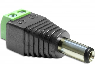 Imagine Adaptor DC 2.1 x 5.5 mm Tata la Bloc Terminal 2 pini, Delock 65396