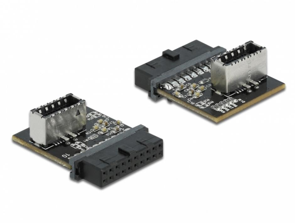 Imagine Pin Header USB 3.0 19 pini la key A, Delock 66432