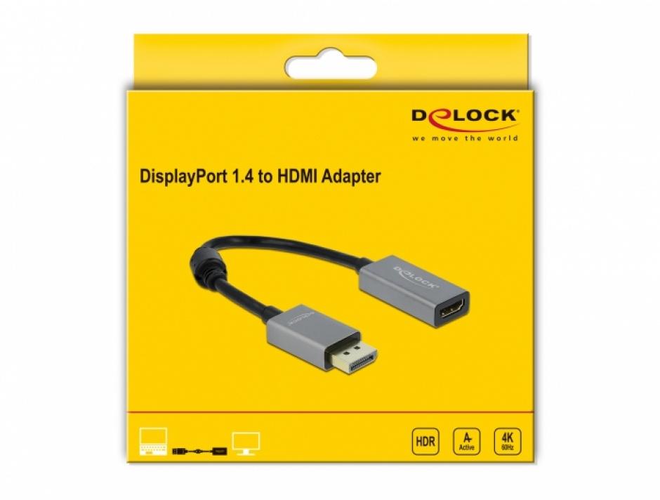 Imagine Adaptor activ DisplayPort 1.4 la HDMI T-M, Delock 66436