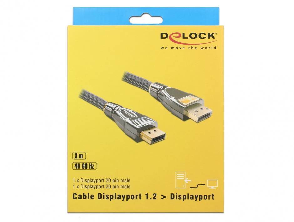 Imagine Cablu DisplayPort v1.2 4K Ultra HD 60Hz Premium T-T 3m, Delock 82772