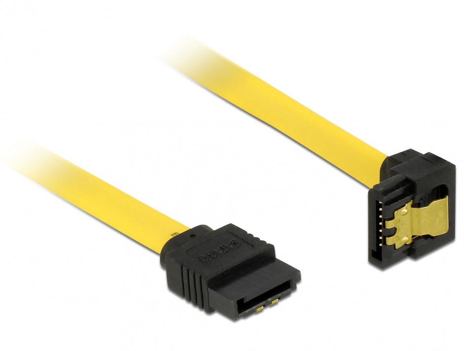 Imagine Cablu SATA III 6 Gb/s drept-jos unghi cu fixare 30cm, Delock 82806