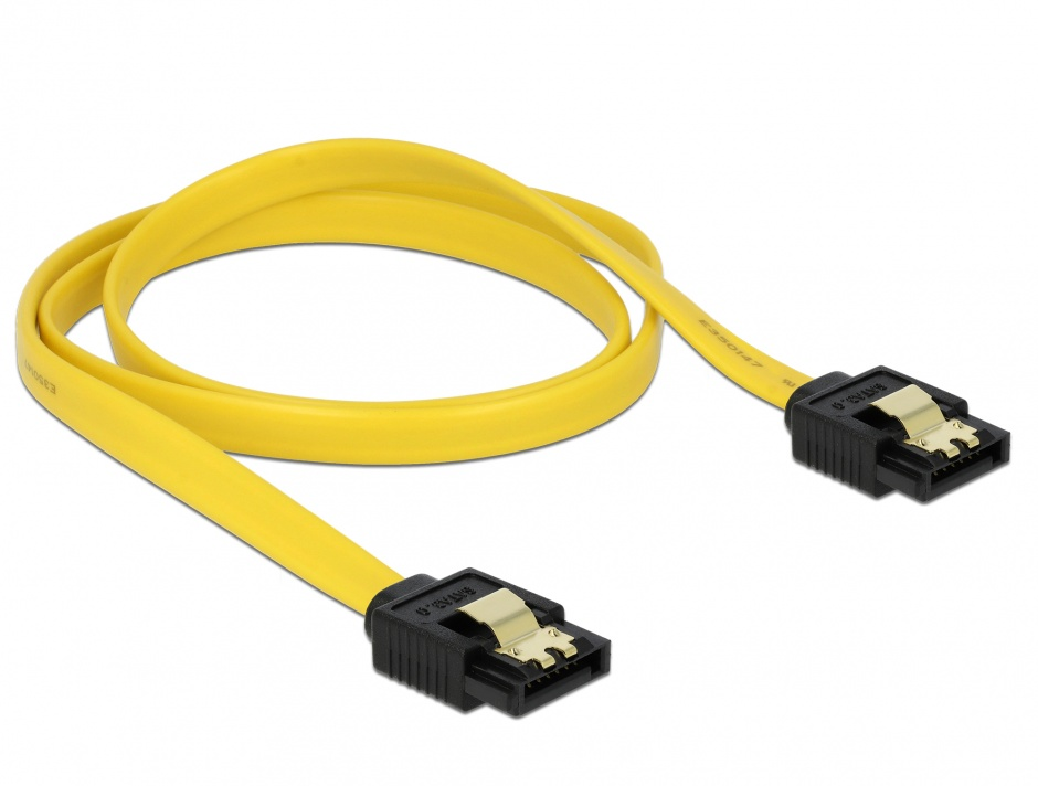 Imagine Cablu SATA III 6 Gb/s drept-drept clips metalic 70 cm, Delock 82813